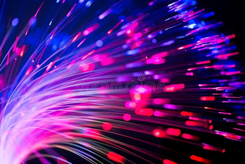 光纤摘要被弄脏的技术背景 库存图片