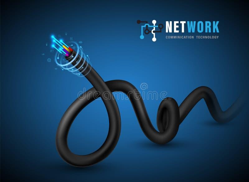 光纤概念和广告通信服务的光纤 向量例证