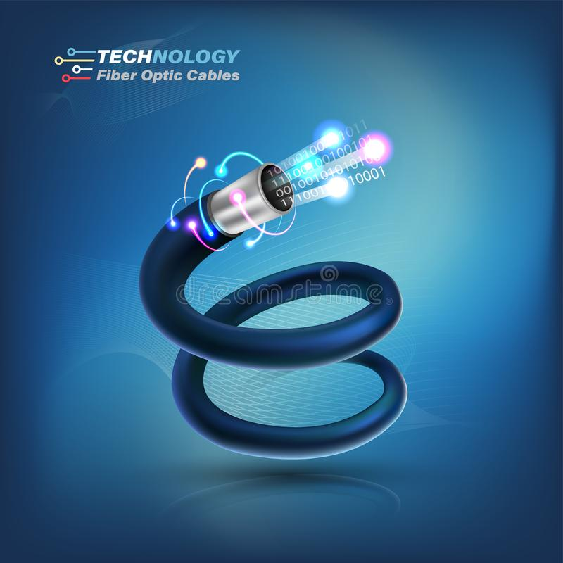 光纤概念和广告通信服务的光纤 库存例证