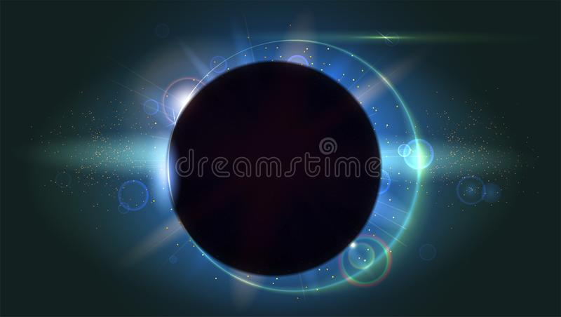 光线和透镜火光背景 焕发光线影响 与闪闪发光的星爆炸 日蚀,天文学现象 向量例证