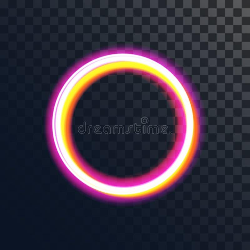 光线影响传染媒介不可思议的金圈子 发光的轻的圆环踪影 对透明背景的光亮的镶有钻石的旭日形首饰的光线影响 向量例证