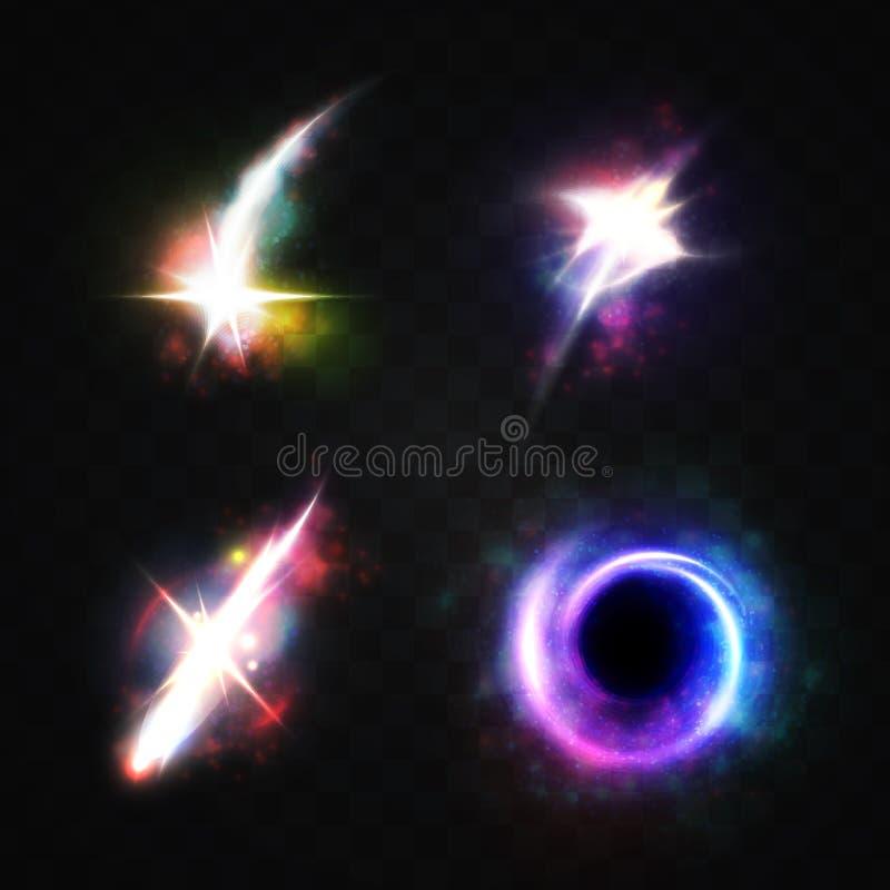 光线影响明亮的星,被隔绝的物体空间,一个黑洞 库存例证