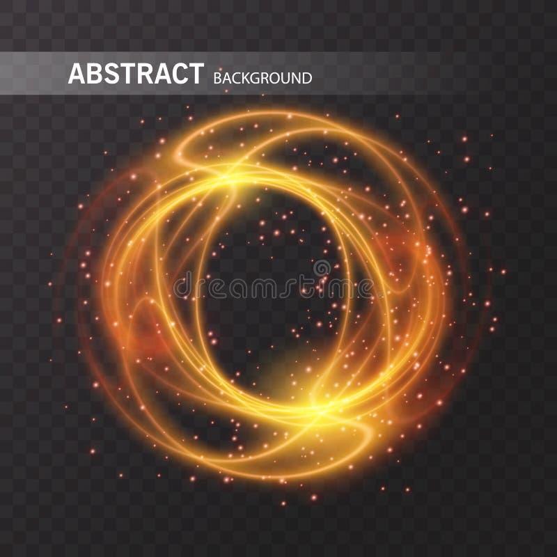 光线影响线金子传染媒介圈子 发光的轻的火圆环踪影 闪烁不可思议的闪闪发光漩涡足迹作用 库存例证