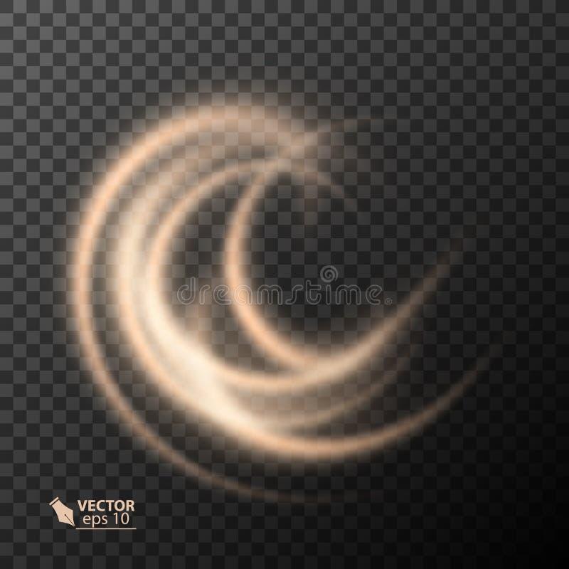 光线影响线金子传染媒介圈子 发光的轻的火圆环踪影 闪烁不可思议的闪闪发光漩涡足迹作用 皇族释放例证