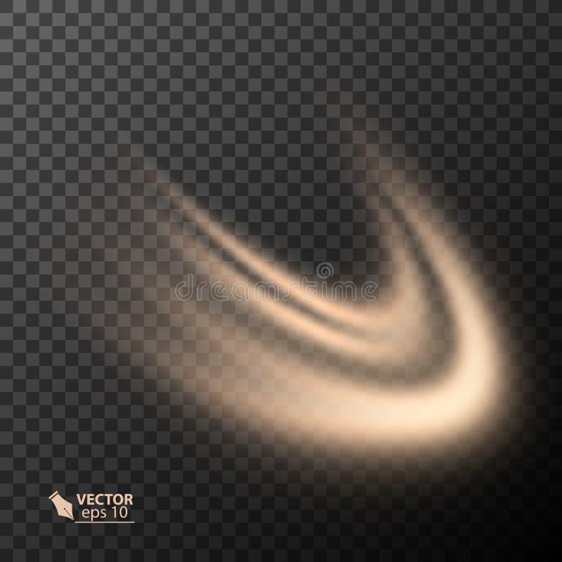 光线影响线金子传染媒介圈子 发光的轻的火圆环踪影 闪烁不可思议的闪闪发光漩涡足迹作用 向量例证