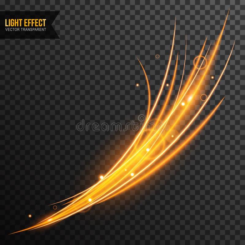 光线影响传染媒介透明与线漩涡和金黄闪闪发光 向量例证