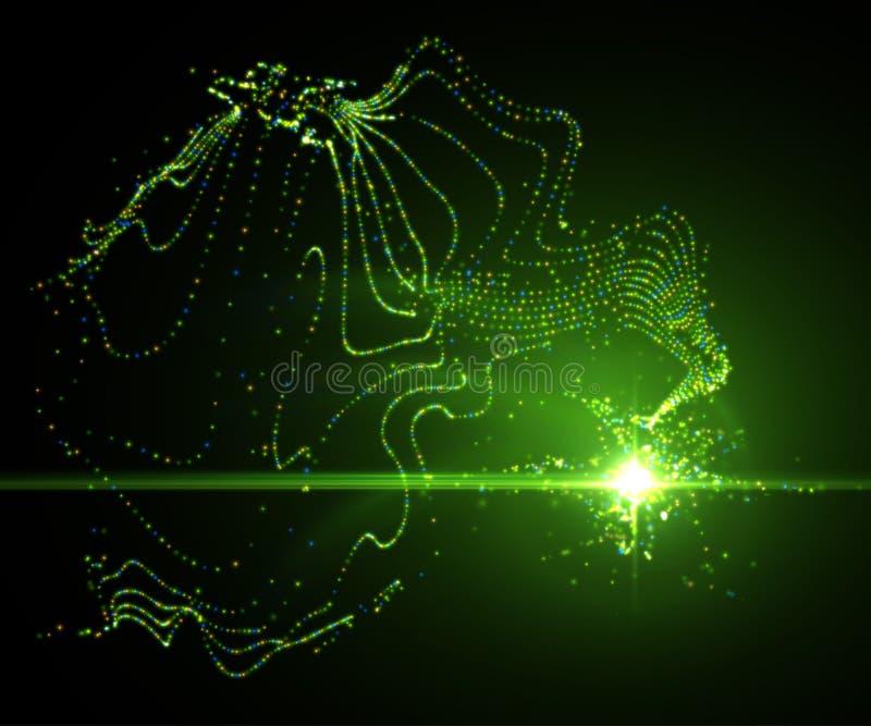 光线影响,发光的火光 抽象背景向量 库存例证