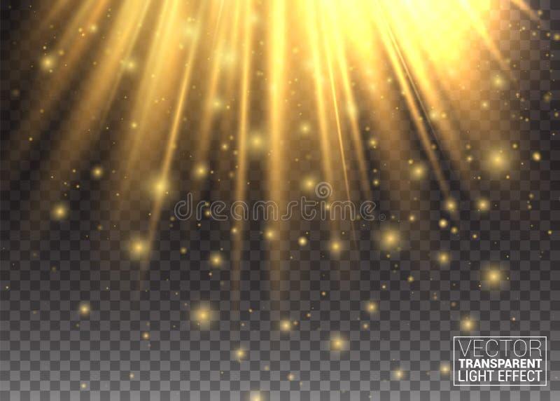 光线影响 金黄光 提高现代您的设计工作的看起来 从上面发光 抽象图象火光 行动 向量例证