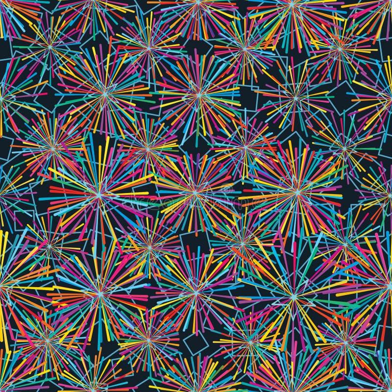 光芒五颜六色的星金刚石形状seamelss样式 库存例证