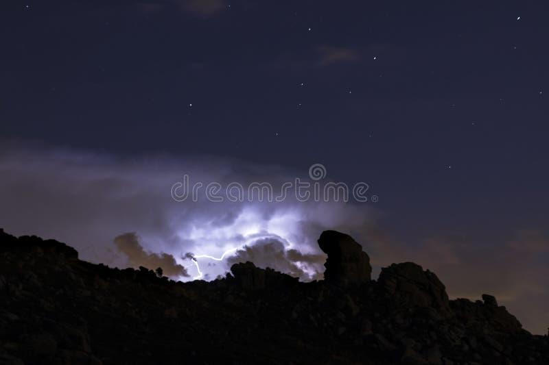 光芒和云彩在夜风暴 免版税图库摄影