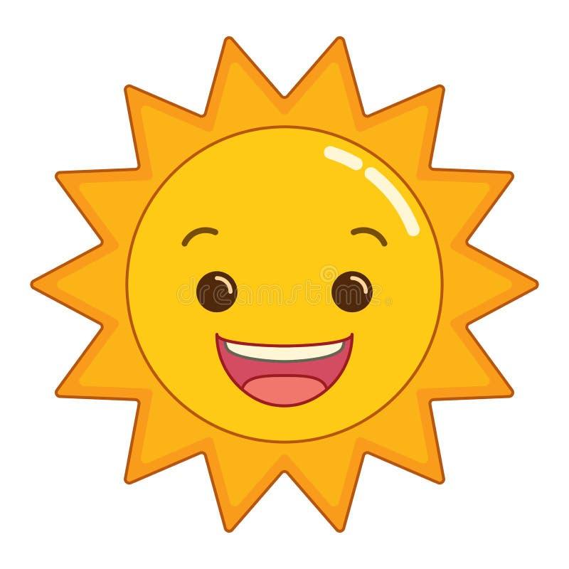 光芒四射的微笑的动画片太阳 向量例证