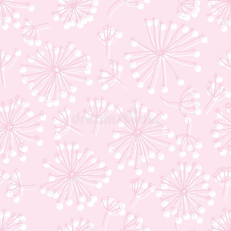 光芒圈子线型蒲公英桃红色淡色无缝的样式 皇族释放例证