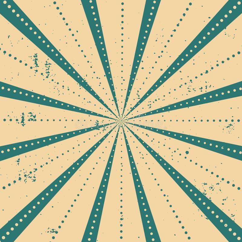 光芒镶边与与光的光点图形破裂了条纹 抽象墙纸背景 传染媒介葡萄酒例证 向量例证