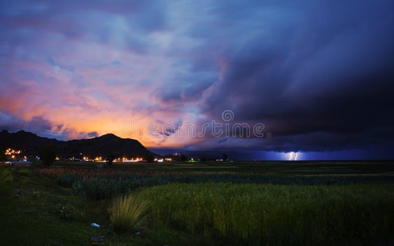 光芒Titicaca湖普诺,秘鲁 库存照片