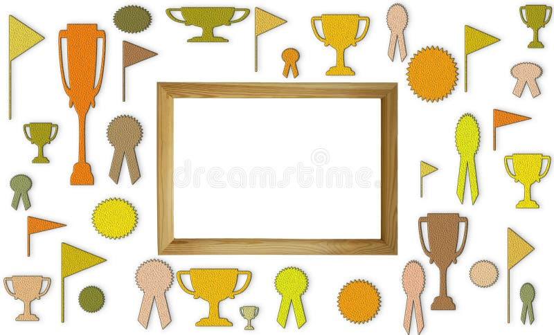 光荣榜与自由空白的拷贝空间的概念 杯、奖牌和徽章与白色空间在木制框架大模型 免版税库存照片