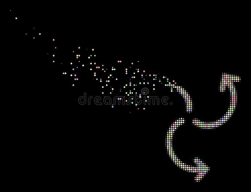 光被溶化的Pixelated半音涡轮自转象 向量例证