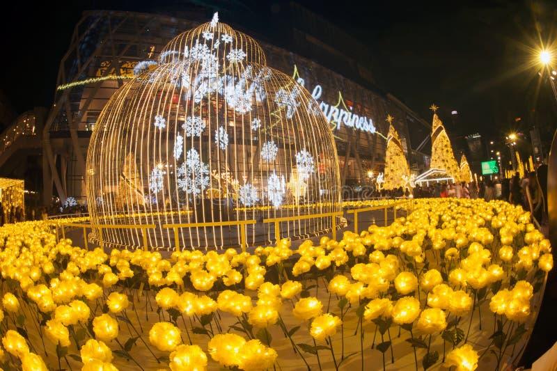 光装饰美丽在圣诞树庆祝2017年 免版税库存照片