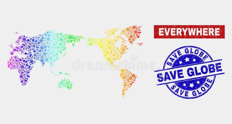 光谱工业界地图和困厄除地球邮票封印外 库存例证
