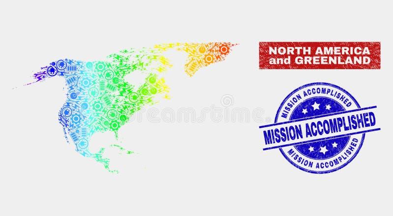 光谱工厂北美洲和格陵兰地图和难看的东西使命完成了邮票封印 库存例证