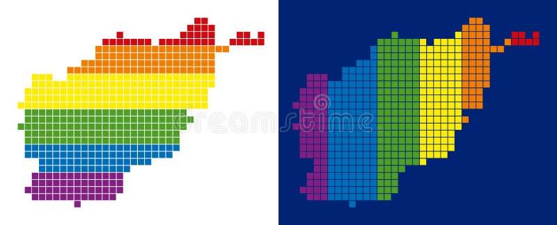 光谱映象点被加点的阿富汗地图 向量例证