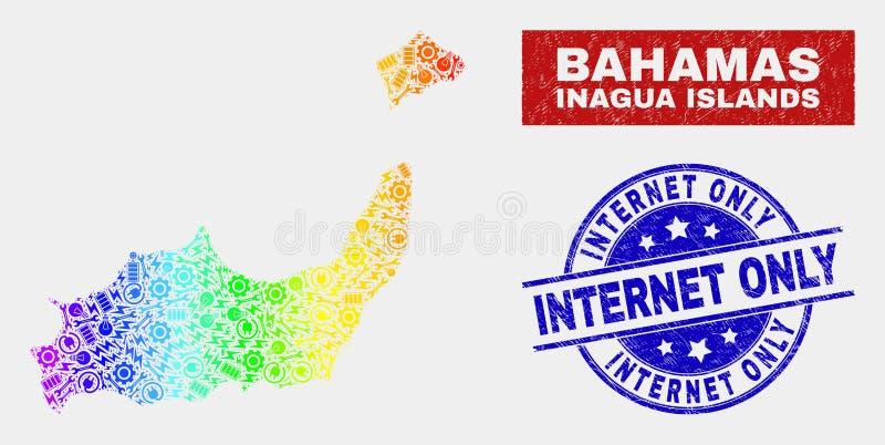 光谱生产力Inagua海岛映射和难看的东西互联网仅邮票封印 库存例证