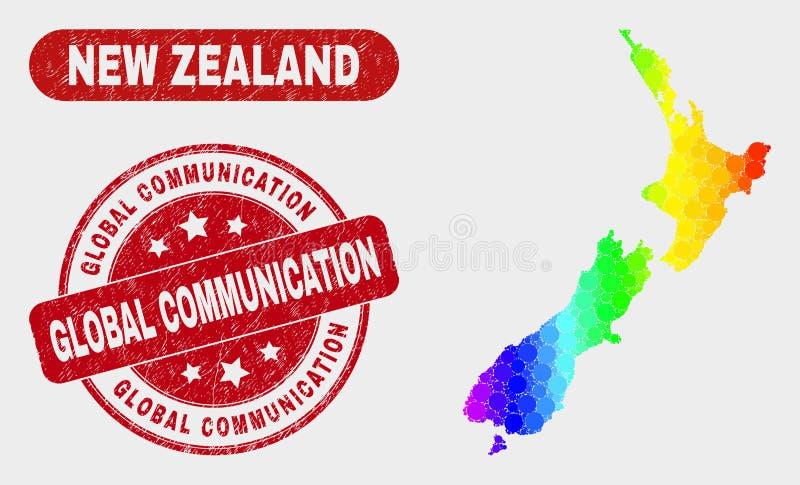 光谱马赛克新西兰地图和困厄全球性通信水印 库存例证