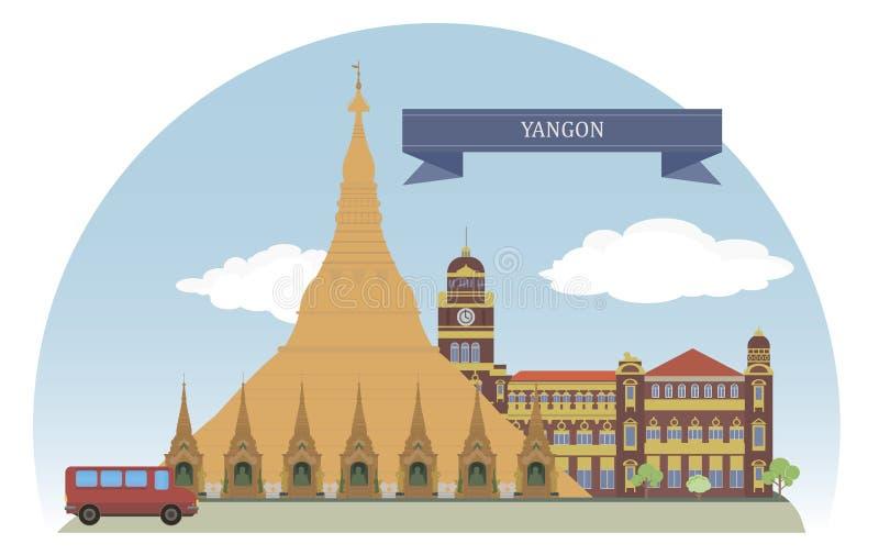 仰光,缅甸 向量例证