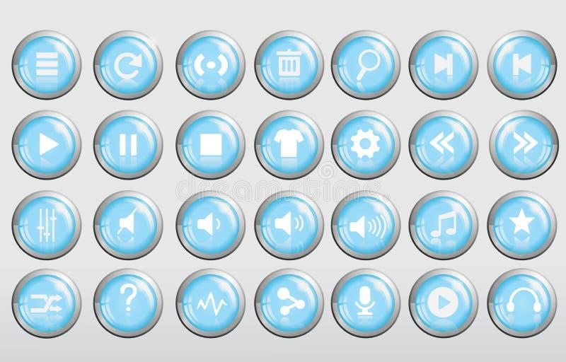光滑凉快的3d蓝色音乐的按钮 库存例证