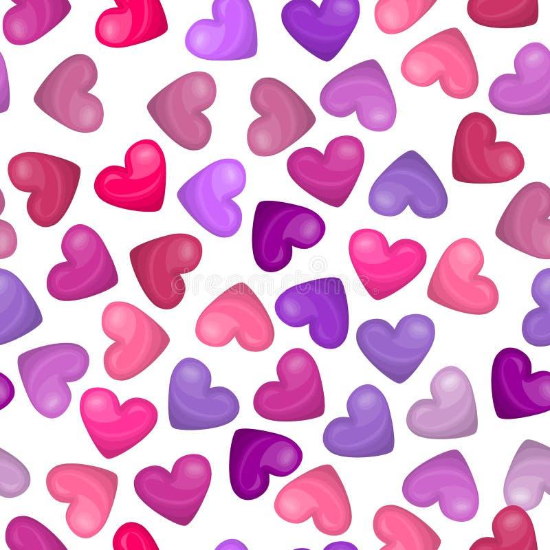 光滑的在白色背景的心脏无缝的样式 美好的假日设计的传染媒介例证 逗人喜爱桃红色,紫色,上升了 向量例证