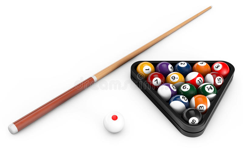 光滑的撞球设置与暗示 库存例证