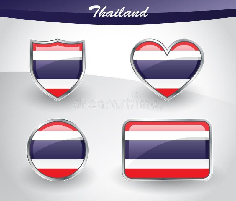 光滑的泰国旗子象集合 库存例证