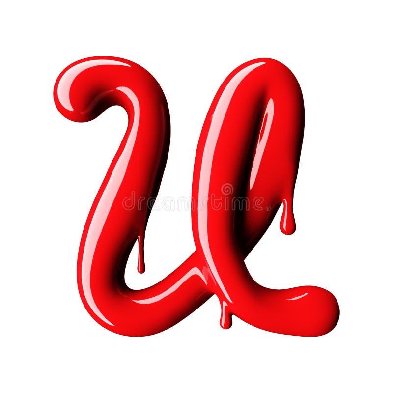 光滑的红字U大写 3d翻译 向量例证