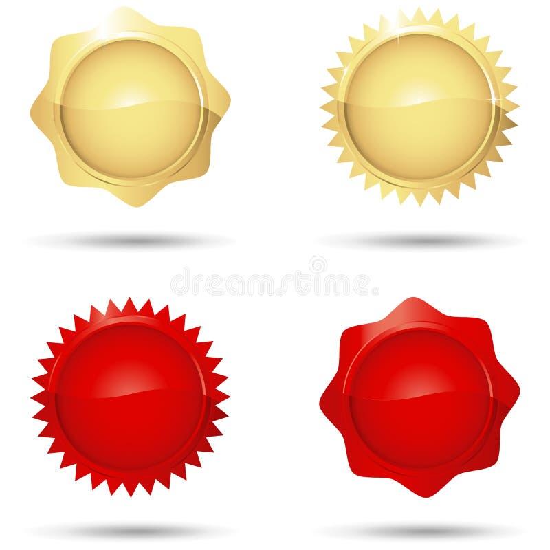 光滑的红色和金封印 库存例证