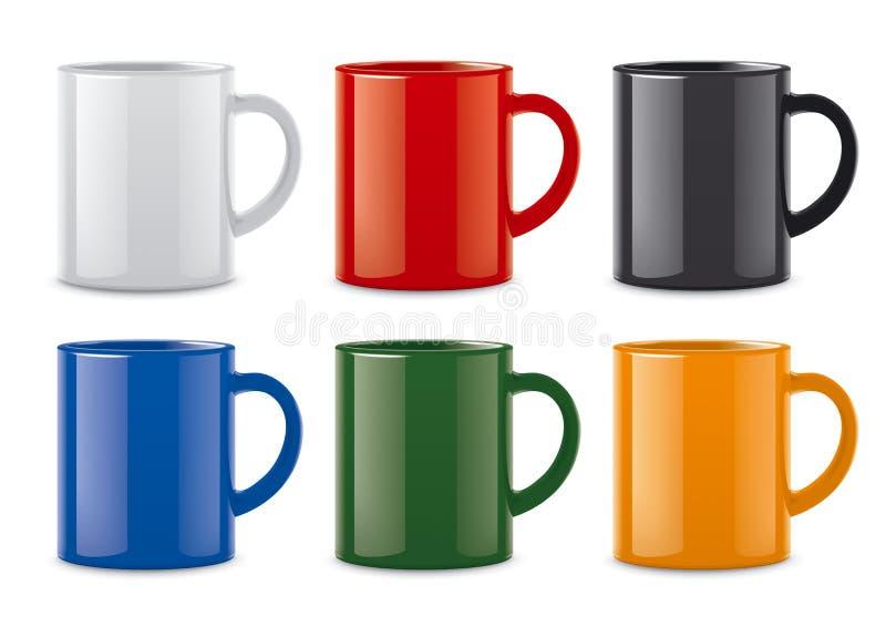 光滑的色的杯子 向量例证