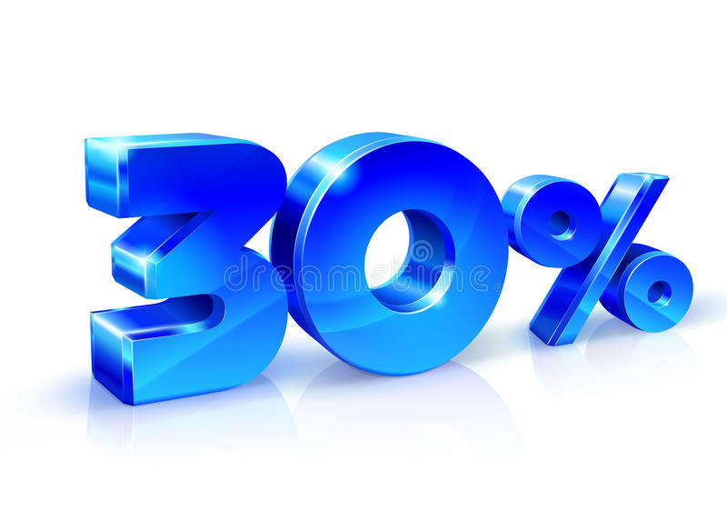 光滑的蓝色30百分之三十,销售 隔绝在白色背景, 3D对象 皇族释放例证