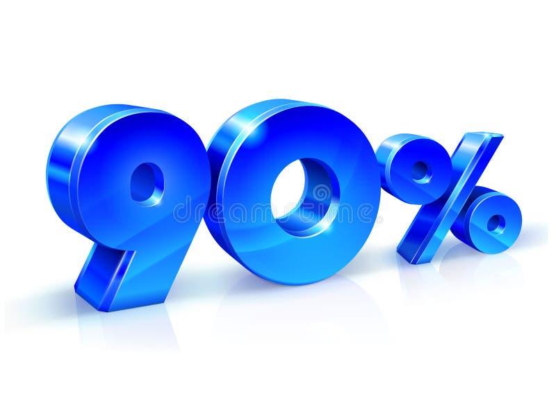 光滑的蓝色90百分之九十,销售 隔绝在白色背景, 3D对象 向量例证