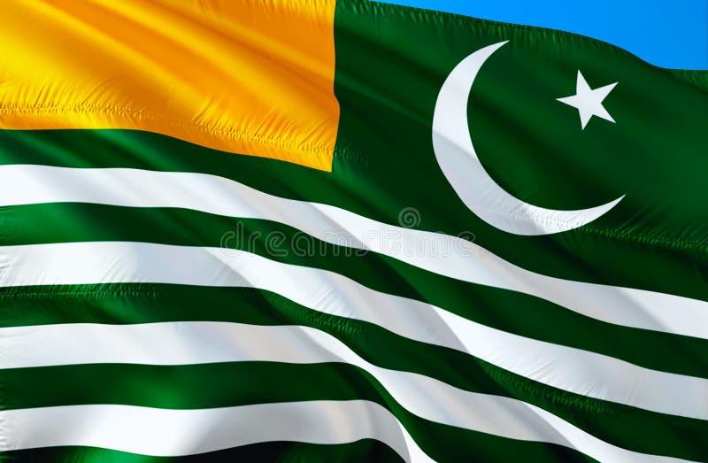 克什米尔旗子 3D挥动的旗子设计 阿萨德・克什米尔的国家标志,3D翻译 阿萨德・克什米尔3D挥动的标志设计 挥动 免版税库存照片