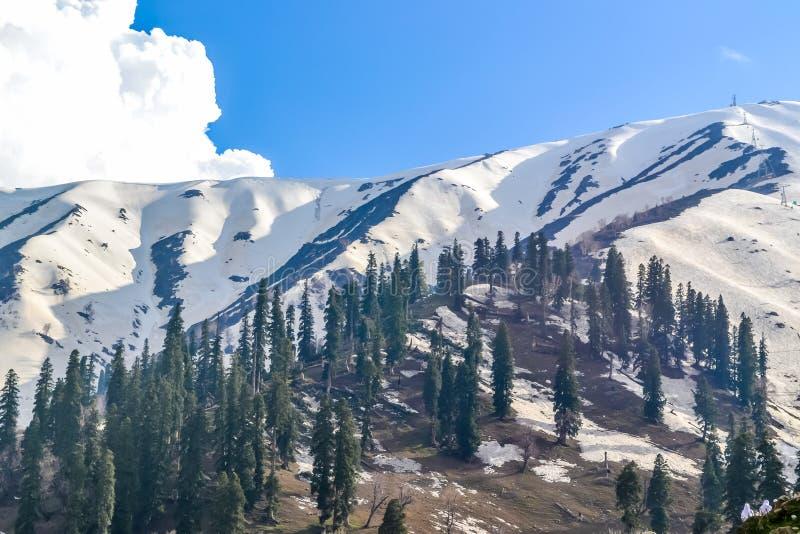克什米尔的惊人照片也叫'地球上的天堂'印度的最美丽如画的部分,把变成一多雪wonderlan 库存图片