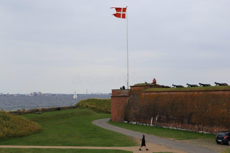 克伦堡城堡,丹麦的古老火炮本营 图库摄影