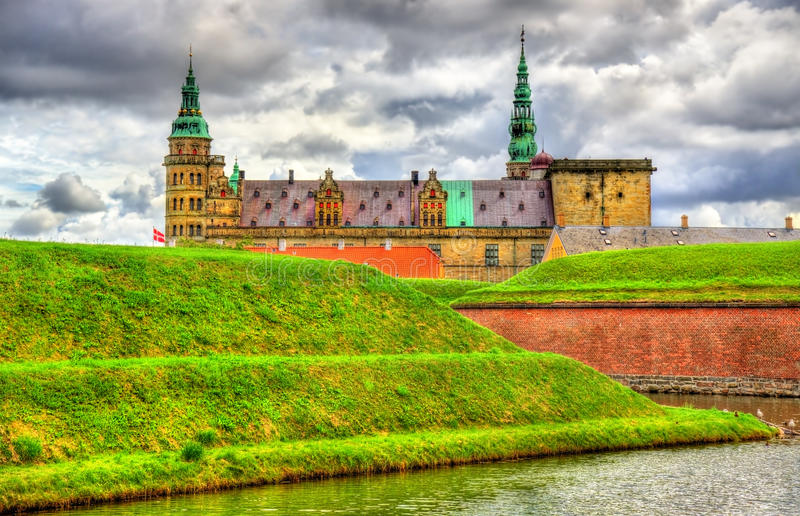 克伦堡城堡,叫作在哈姆雷特-丹麦的悲剧的Elsinore 库存照片