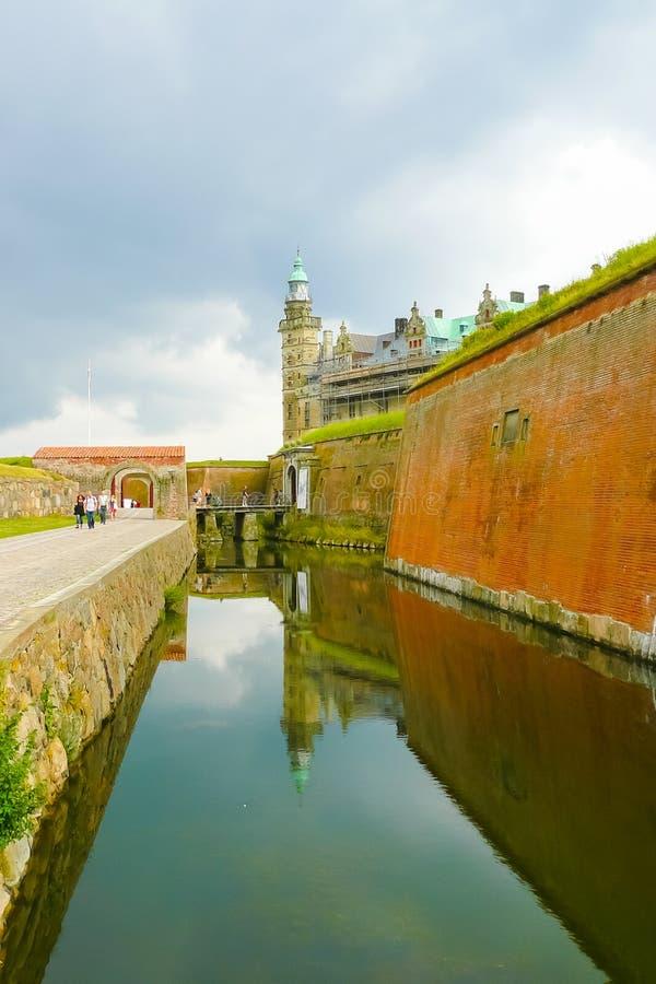 克伦堡城堡Copenaghen丹麦防御护城河 库存图片