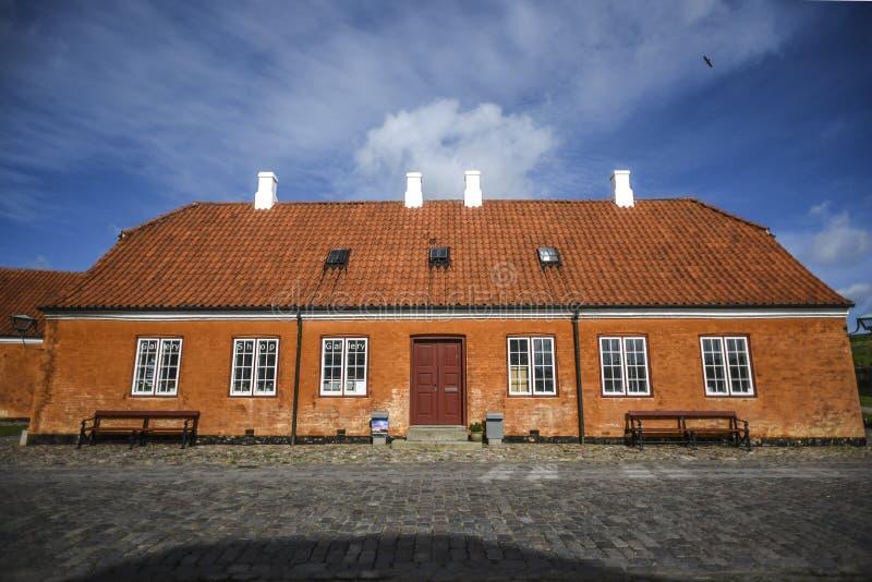 克伦堡大厦在丹麦,一个红砖大厦防御 免版税库存图片