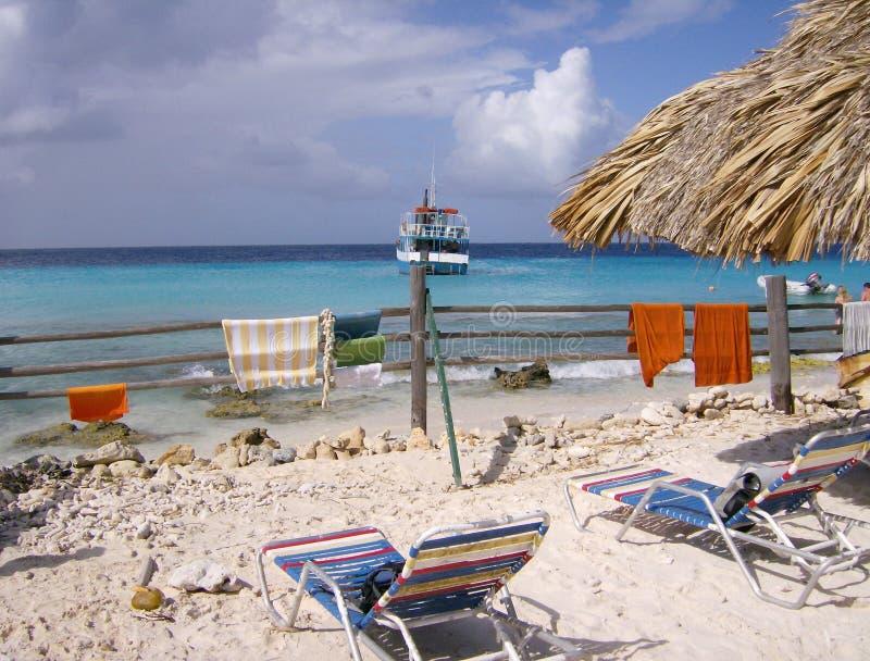 克伦库拉索岛,小海岛在离库拉索岛的海岸的附近 图库摄影