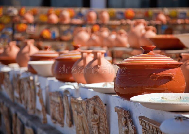 克利特希腊市场瓦器 库存照片
