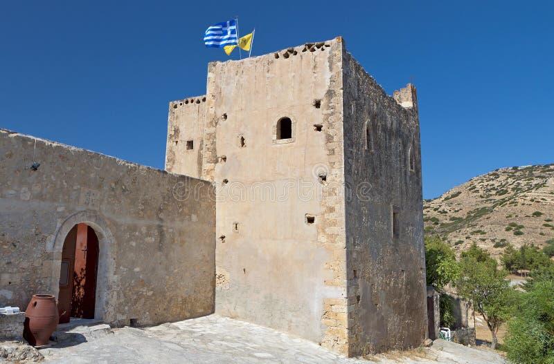克利特海岛的修道院在希腊 免版税库存图片
