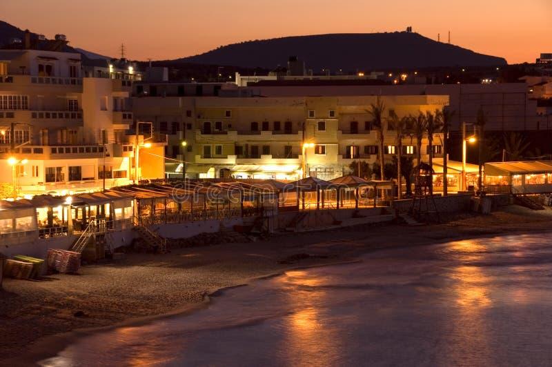 克利特港口晚上视图 库存图片