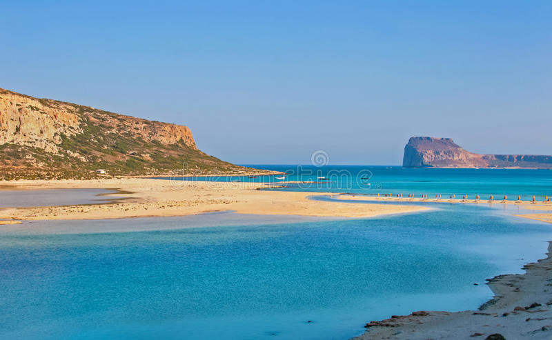 Gramvousa海岛和克利特的Balos盐水湖 库存图片