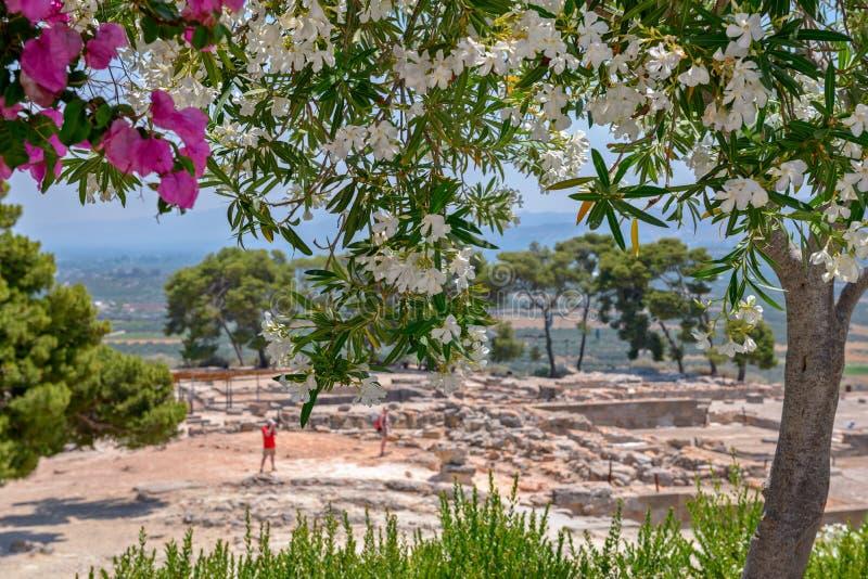 克利特的Phaistos宫殿考古学站点 免版税库存照片