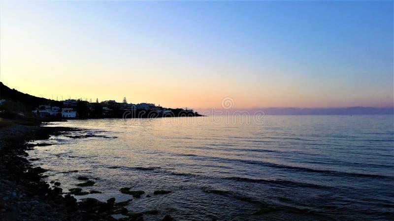 克利特,希腊海岛 在hersonisos的日落 免版税库存图片