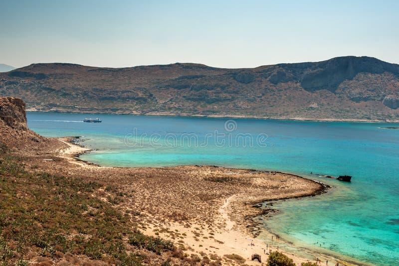 克利特,希腊:格拉姆武萨群岛海岛和Balos盐水湖 库存图片
